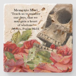 Memento Mori Red Roses Skull Stone Coaster