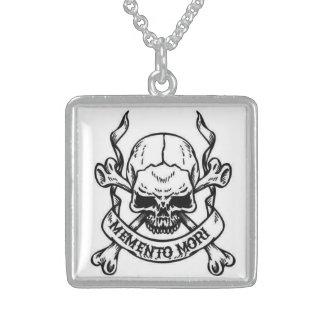 memento mori square pendant necklace