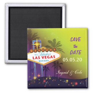 Memorable Las Vegas Wedding Night Save the Date Square Magnet