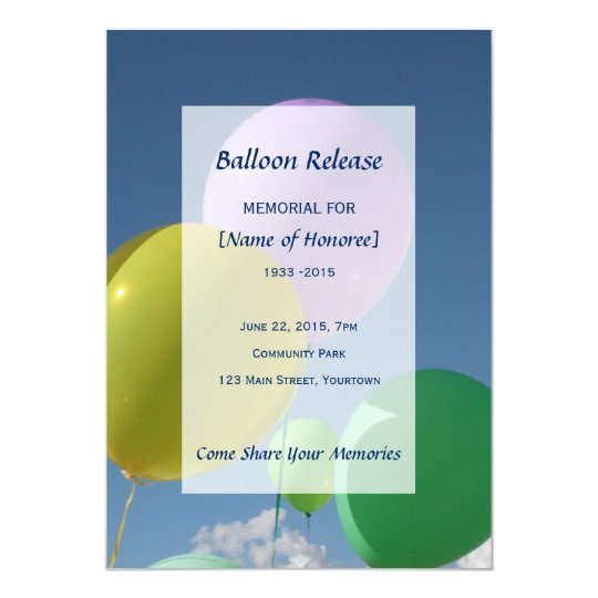 Memorial Balloon Release Card