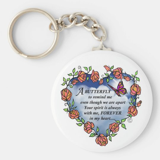 Memorial Butterfly Poem Basic Round Button Key Ring