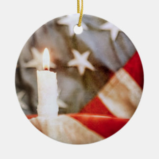 Memorial Candle with Flag Christmas Ornament