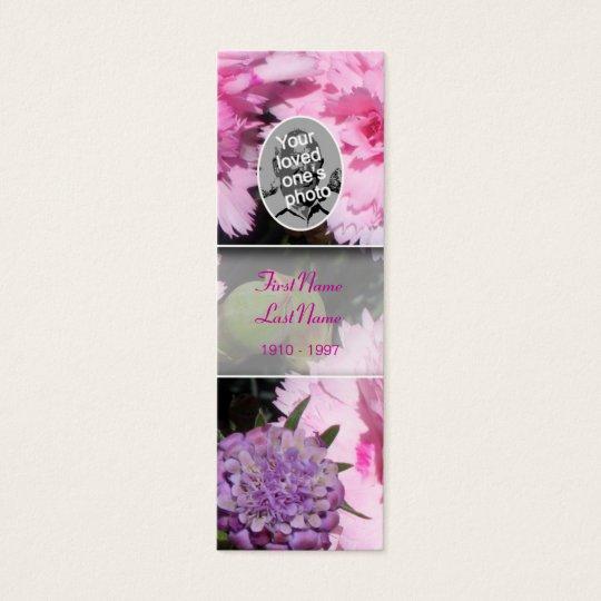 Memorial Card Floral Photo Pink Carnation Bookmark