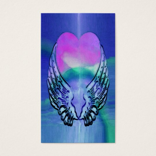 Memorial Card | Heart and Angel Wings