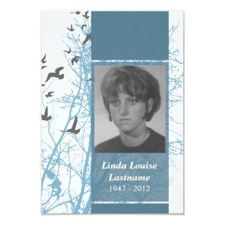 memorial cards : silhouscreen birds 9 cm x 13 cm invitation card