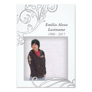 memorial cards : white flourish 9 cm x 13 cm invitation card