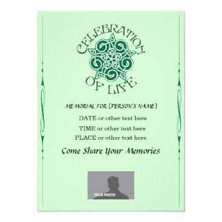 Memorial Celebration of Life - Celtic Knot design 14 Cm X 19 Cm Invitation Card