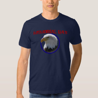 Memorial Day Bald Eagle with Blue Circle T Shirt