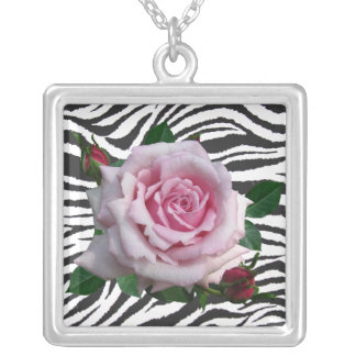 MEMORIAL DAY ROSE-NECKLACE SILVER PLATED NECKLACE