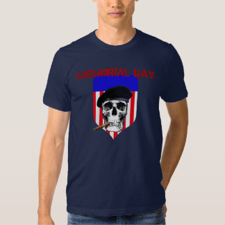 Memorial Day Skull with Beret and Cigar on shield T-shirt