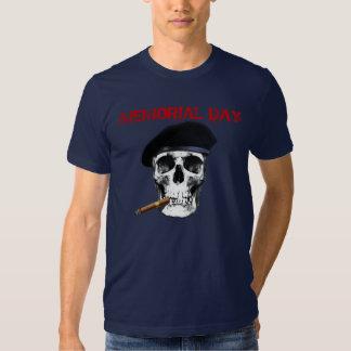 Memorial Day Skull with Beret and Cigar Shirt