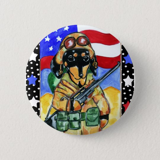 Memorial Day Soldier Dachshund 6 Cm Round Badge