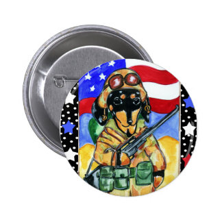 Memorial Day Soldier Dachshund 6 Cm Round Badge