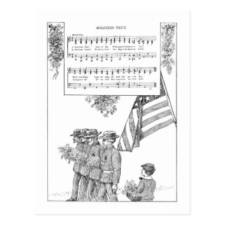 Memorial Day Song and Soldiers Postcard