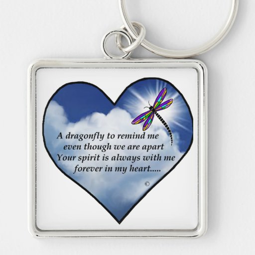 Memorial Dragonfly Poem Keychain