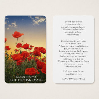 Memorial Funeral Prayer Card | Beautiful Poppies
