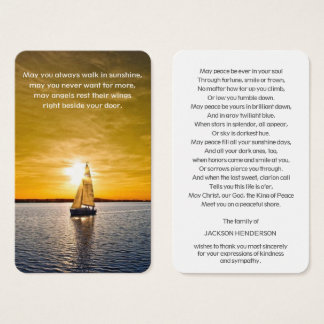 Memorial Funeral Prayer Card | Boat & Sunset