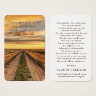 Memorial Funeral Prayer Card | Country Sunset