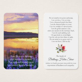 Memorial Funeral Prayer Card | Floral Lake