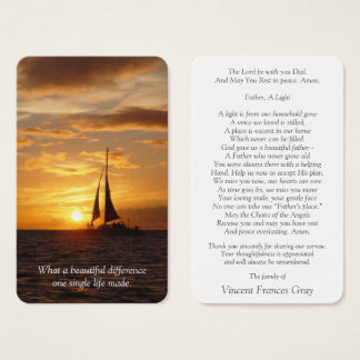 Memorial Funeral Prayer Card | Hawaiian Sunset