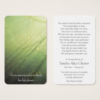 Memorial Funeral Prayer Card | Peaceful Forest