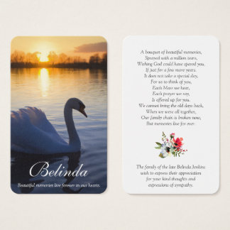 Memorial Funeral Prayer Card | Sunset Swan