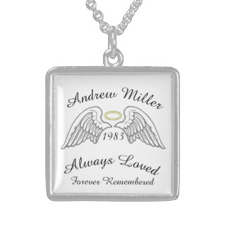 Memorial Keepsake Custom  Silver Yellow Halo Sterling Silver Necklace