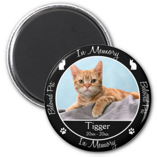 Memorial - Loss of Cat - Custom Photo/Name 6 Cm Round Magnet