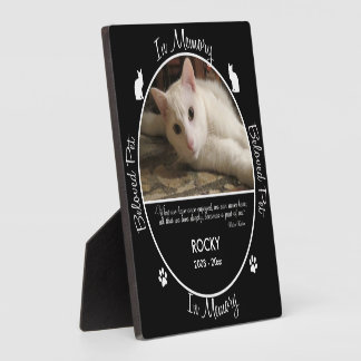 Memorial - Loss of Cat- Custom Photo/Name Plaque
