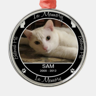 Memorial - Loss of Cat - Custom Photo/Name Silver-Colored Round Decoration