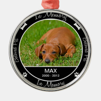 Memorial - Loss of Dog- Custom Photo/Name Silver-Colored Round Decoration