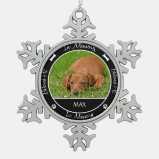 Memorial - Loss of Dog- Custom Photo/Name Snowflake Pewter Christmas Ornament
