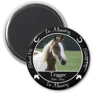 Memorial - Loss of Horse - Custom Photo/Name 6 Cm Round Magnet