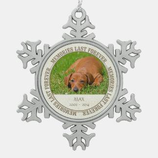 Memorial - Loss of Pet - Custom Photo/Name Pewter Snowflake Decoration
