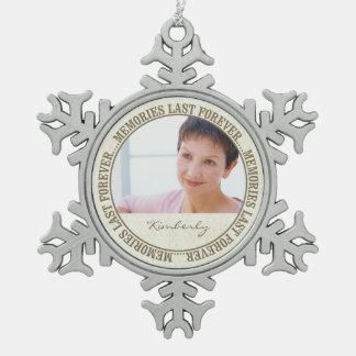 Memorial - Memories Last Forever Custom Photo/Name Pewter Snowflake Decoration