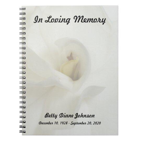 Memorial or Funeral Guest Book Notebook - Gardenia