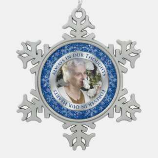 Memorial Photo Christmas Blue Silver Pewter Snowflake Decoration