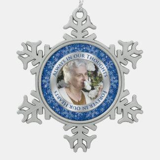 Memorial Photo Christmas Blue Silver Pewter Snowflake Decoration