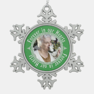 Memorial Photo Christmas Celtic Knot Green Pewter Snowflake Decoration