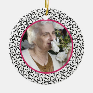 Memorial Photo Christmas Ornament Chic Floral Pink