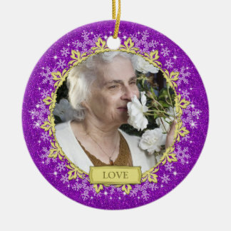 Memorial Photo Christmas Ornament - snowflakes