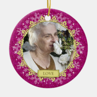 Memorial Photo Pink Snowflakes Christmas Christmas Ornament