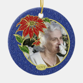 Memorial Photo Poinsettia Flower Christmas Round Ceramic Decoration