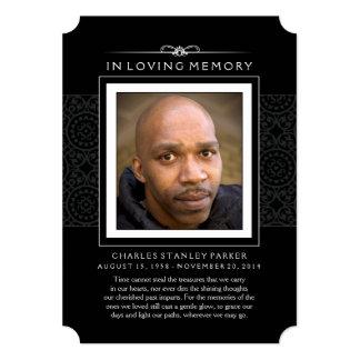 Memorial Photo Thank You Card - Elegant Black 13 Cm X 18 Cm Invitation Card