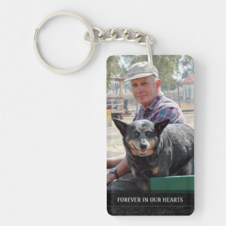 Memorial - Red Barn Scene Back - They Are Where We Double-Sided Rectangular Acrylic Key Ring