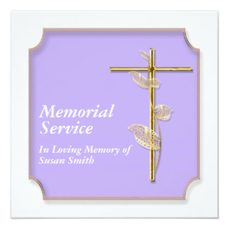 Memorial service announcement cross golden