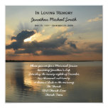 Memorial Service Announcement Invitation -- Sunset 13 Cm X 13 Cm Square Invitation Card