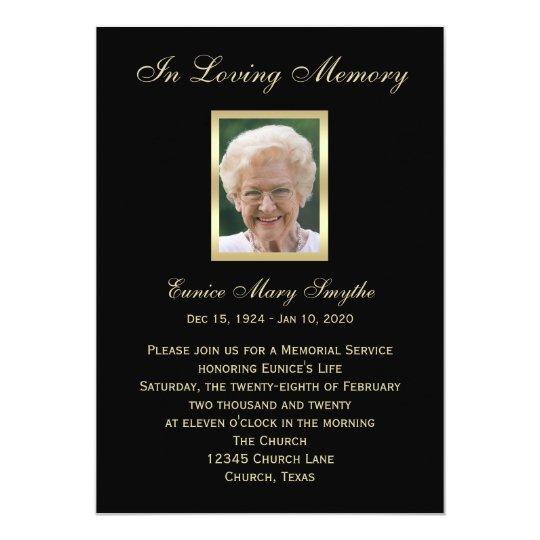memorial service announcement invitations  photo  zazzle