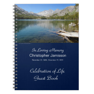 Memorial Service Guest Book, Lake Reflection Spiral Notebook