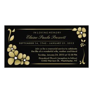 Memorial Service Invitation - Gold & Black Floral Picture Card